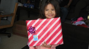 Girl with Christmas present